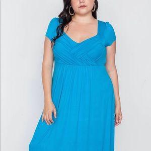 Dresses & Skirts - PLUS SIZE BLUE SHORT SLEEVE MAXI DRESS 1X-3X